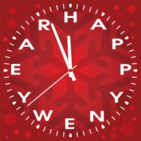 vector illustration of happy new year clock  Vector