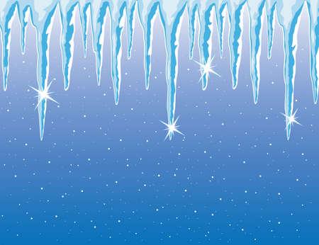 つらら: 光沢のあるつららと雪のベクトルの背景