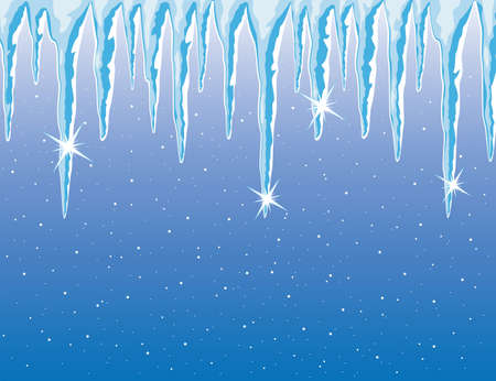 frozen water: vector background of shiny icicles and snowfall Illustration