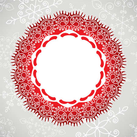 vector winter background of lace and snowflakes