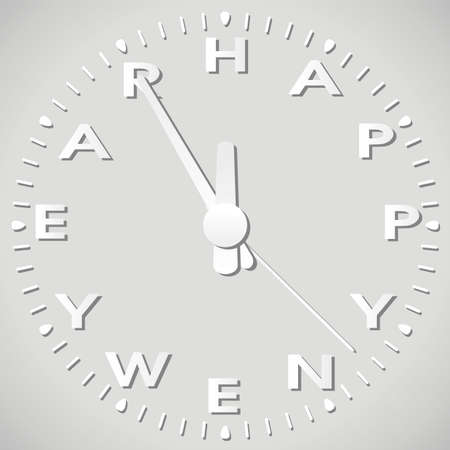 happy hours: vector illustration of happy new year paper clock