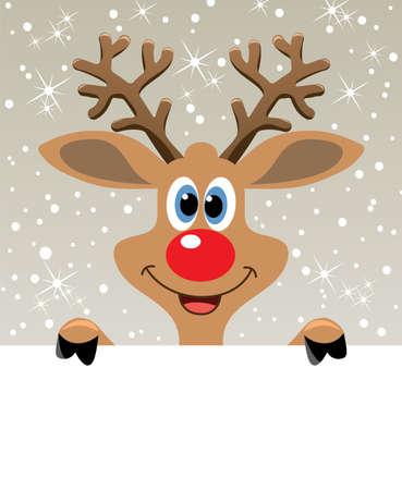 renna: illustrazione vettoriale di felice Natale renna dal naso rosso holding carta bianca per il tuo testo
