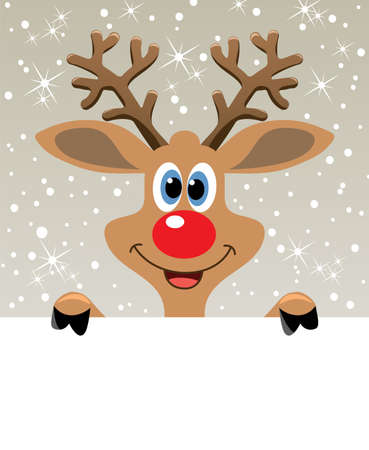 vector christmas illustration of happy red nosed reindeer holding blank paper for your text  Illustration