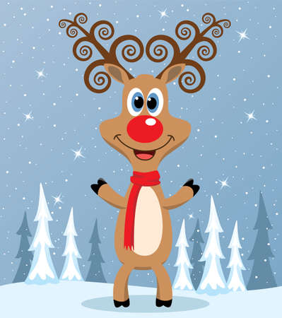 vector christmas illustration of red nosed reindeer  Vector