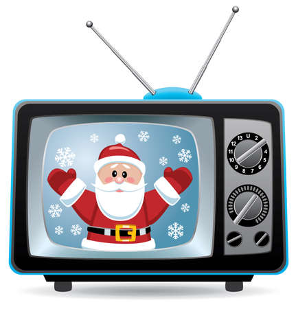 television: vector christmas illustration of santa claus in retro tv set Illustration