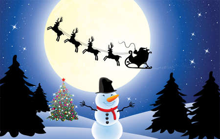 vector christmas holiday background with santa claus, christmas tree and snowman Vector