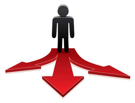 red man: icono vectorial de un hombre de tomar una decisi�n en el cruce