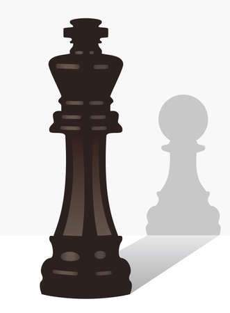 shadow puppets: vector chess king with the shadow of a pawn