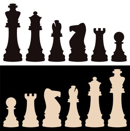chess knight: vector set di pezzi degli scacchi Vettoriali