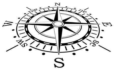 rosa dei venti: disegno vettoriale di nero bussola