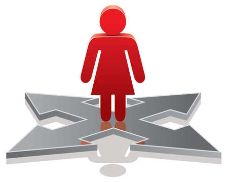 choose person: vector icon of a woman making a choice on crossroads