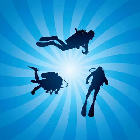 vector duikers onder water en de stralen van het licht