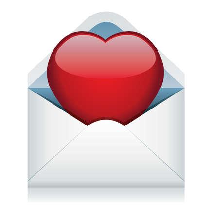 vector red heart in the envelope Vector