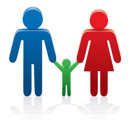 male parent: vector illustration of a family with symbols of man, woman and a child