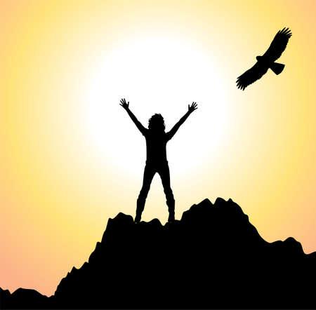 クライマー: 山と飛ぶ鳥の上に上げられた手を持つ少女のベクトル シルエット