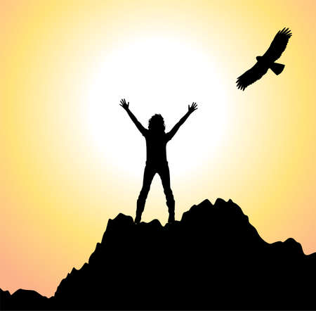 raise: vector silhouette of a girl with raised hands on top of the mountain and flying bird