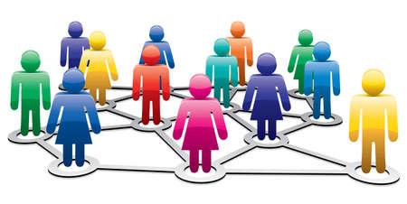 сеть: вектор красочные символы мужчины и женщины формирования бизнес или социальные сети