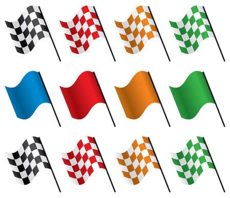 vector design set of racing flags Illustration