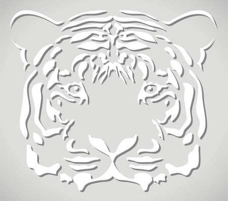 tiger white: illustrazione vettoriale di testa di tigre di carta