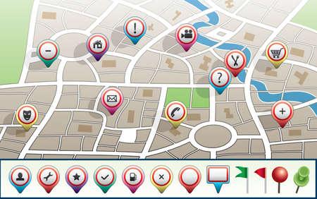 land mark: vector de mapa de la ciudad con los iconos del GPS