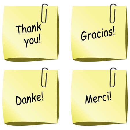 te negro: vector de notas de papel amarillo con alfiler y gracias palabras en Inglés, español, alemán y francés Vectores
