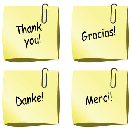 thanks you: vector yellow paper notes with push pin and thank you words in english, spanish, german and french