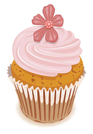vector clipart of pink cupcake with a flower Vector