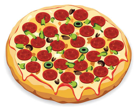 viande cuite: illustration vectorielle de la pizza italienne
