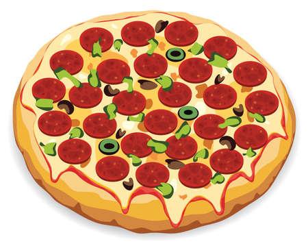 onion slice: vector illustration of italian pizza
