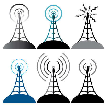 omroep: vector ontwerp van radio-toren symbolen Stock Illustratie