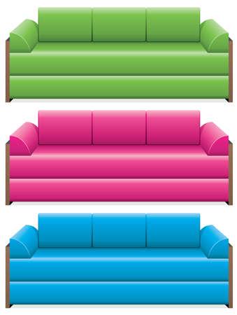 blue leather sofa: vector set di divani colorati
