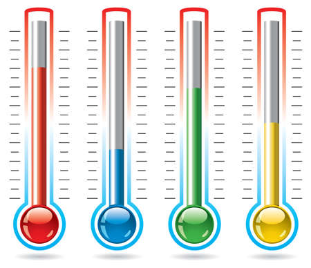 growth hot: vector illustration of thermometers