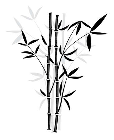 china wall: vector black and white illustration of bamboo