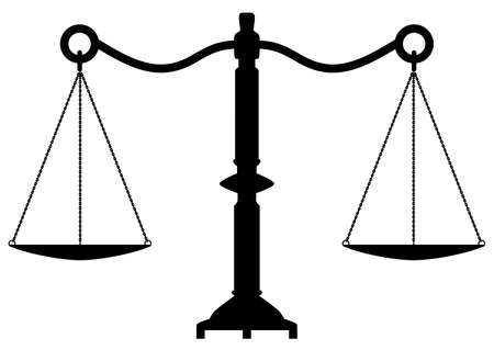 justice scales: vector antique scales of justice