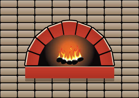 stone fireplace: vector oven with burning fire