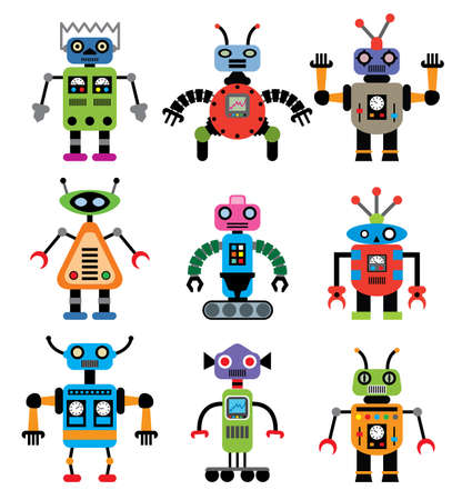 retro robot: vector set of robots of various shapes and colors