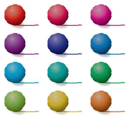 woolen fabric: vector conjunto de bolas de hilo
