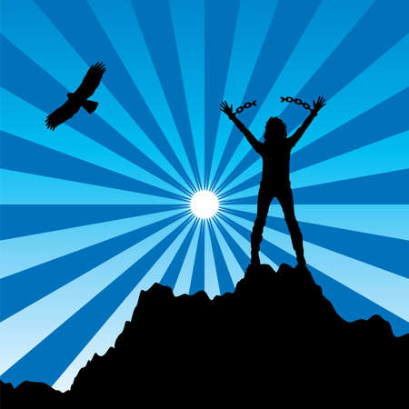 free climber: vector silhouette of a girl with raised hands and broken chains