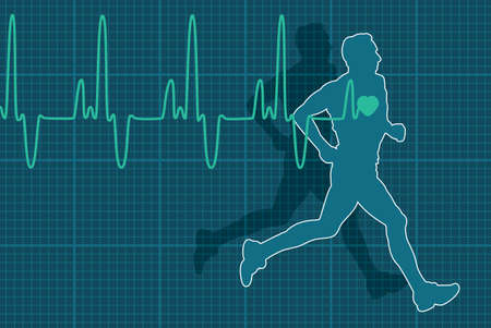 blood pressure monitor: vector illustration of heartbeat electrocardiogram and running man Illustration