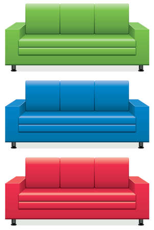 blue leather sofa: vector set of colorful sofas