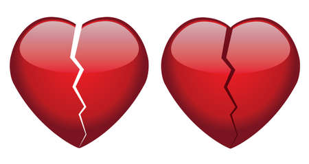 heart pain: vector broken hearts