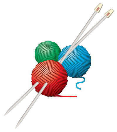 textura lana: pelotas vector de hilo y agujas