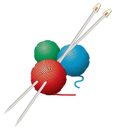 gomitoli di lana: vettoriali palle filati e aghi Vettoriali