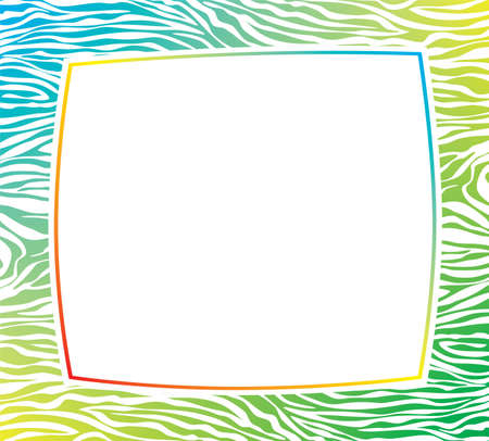 animal border: vector colorful frame with abstract zebra skin texture and copy-space