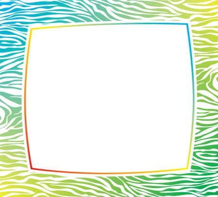 impresion de los animales: vector de colorido marco con textura de piel de cebra abstracta y espacio de la copia-