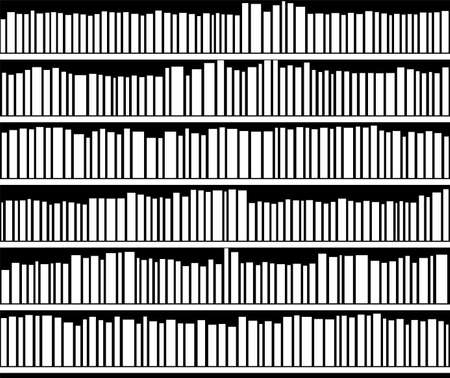 vector abstract illustration of black and white bookshelf