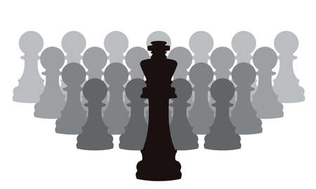 one team: vector concept of leadership with chess pieces of a king and pawns Illustration