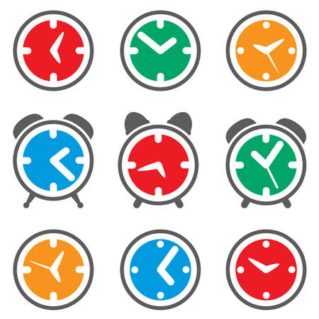 vector set of colorful clock symbols Vector