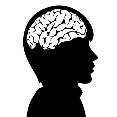 cerebro blanco y negro: ilustración vectorial de un hombre con el cerebro en su cabeza Vectores