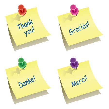 te: vector de notas de papel amarillo con alfiler y gracias palabras en Ingl�s, espa�ol, alem�n y franc�s Vectores